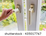woman opens window for... | Shutterstock . vector #435017767