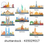 vector illustration of skyline of famous building of important city around the world | Shutterstock vector #435029017