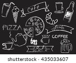 a cafe chalkboard icons set...   Shutterstock .eps vector #435033607