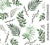 watercolor deep green ferns and ... | Shutterstock . vector #435084433