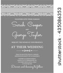 silver wedding invitation card... | Shutterstock .eps vector #435086353