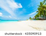 beautiful tropical maldives... | Shutterstock . vector #435090913