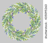isolated watercolor wreath with ... | Shutterstock . vector #435095263