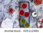 overhead of ice red fruits and... | Shutterstock . vector #435112483