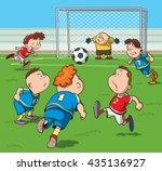 cartoon kids playing football... | Shutterstock .eps vector #435136927