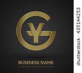 letter gy or yg linked logo... | Shutterstock .eps vector #435144253