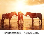in love couple kissing on the... | Shutterstock . vector #435212287