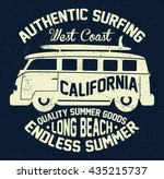 surfing bus  authentic surfing... | Shutterstock .eps vector #435215737