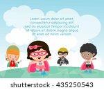 superhero kids at playground  ...   Shutterstock .eps vector #435250543