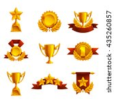 set of trophy  medals and award.... | Shutterstock .eps vector #435260857
