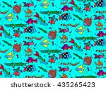 seamless pattern with children... | Shutterstock . vector #435265423