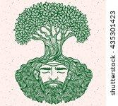 bearded man. allegorical tree... | Shutterstock .eps vector #435301423