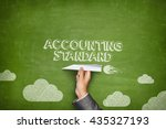 Small photo of Accounting standard concept on blackboard with paper plane