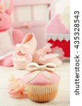 tasty cupcake with bow and baby ... | Shutterstock . vector #435328543
