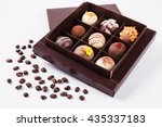 handmade chocolates in a square ... | Shutterstock . vector #435337183