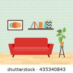 retro interior living room.... | Shutterstock .eps vector #435340843