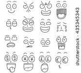 vector set of cartoon faces | Shutterstock .eps vector #435345343