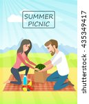 picnic. couple relaxing picnic... | Shutterstock .eps vector #435349417