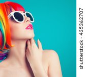 beautiful woman wearing... | Shutterstock . vector #435362707
