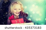 happy little girl with chrstmas ... | Shutterstock . vector #435373183