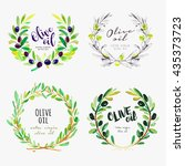 hand drawn olive oil watercolor ... | Shutterstock .eps vector #435373723