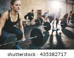 fit young woman lifting... | Shutterstock . vector #435382717