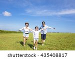 happy family  running together... | Shutterstock . vector #435408817