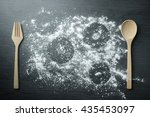 top view of wooden spoon  fork... | Shutterstock . vector #435453097