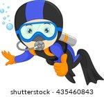 cute boy snorkeling   Shutterstock .eps vector #435460843