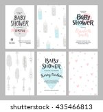 baby shower girl and boy... | Shutterstock .eps vector #435466813