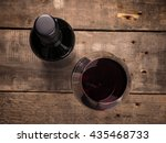 bottle and glass of red wine  ... | Shutterstock . vector #435468733