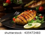 grilled chicken breast with... | Shutterstock . vector #435472483