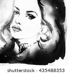 beautiful woman face. abstract... | Shutterstock . vector #435488353
