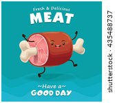 vintage meat poster design with ... | Shutterstock .eps vector #435488737