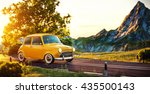 cute little retro car goes by... | Shutterstock . vector #435500143