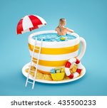 cute young woman swims in the... | Shutterstock . vector #435500233