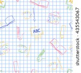 seamless pattern back to school.... | Shutterstock .eps vector #435543067