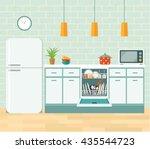 kitchen retro interior with... | Shutterstock .eps vector #435544723