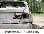 the broken and damaged car | Shutterstock . vector #435561487