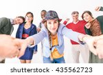 mixed group of people making... | Shutterstock . vector #435562723