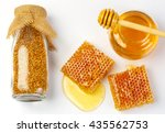 bee products with honey in jar  ... | Shutterstock . vector #435562753