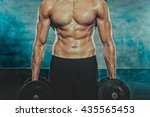 half naked body of muscular... | Shutterstock . vector #435565453