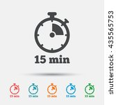 timer sign icon. 15 minutes... | Shutterstock .eps vector #435565753
