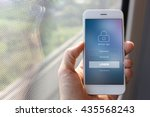 hand holding smartphone with... | Shutterstock . vector #435568243