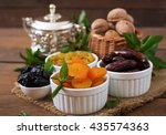 mix dried fruits  date palm... | Shutterstock . vector #435574363