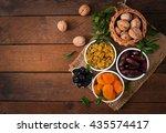 mix dried fruits  date palm...   Shutterstock . vector #435574417