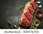 Raw Meat. Raw Beef Steak On A...