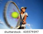 young men player tennis with... | Shutterstock . vector #435579397