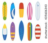 different surfboard collection. ... | Shutterstock .eps vector #435606343