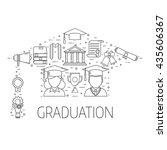 graduation day outline vector... | Shutterstock .eps vector #435606367